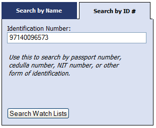 OFAC SDN list search by ID number